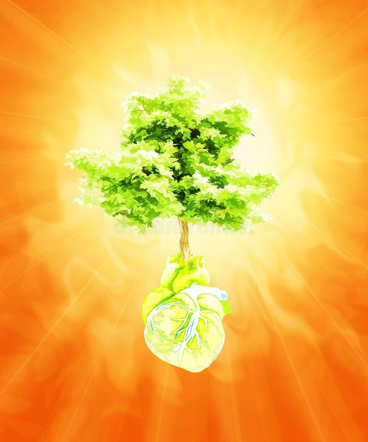 Estratto sotto forma di cuore e di albero Estate calda illustrazione vettoriale