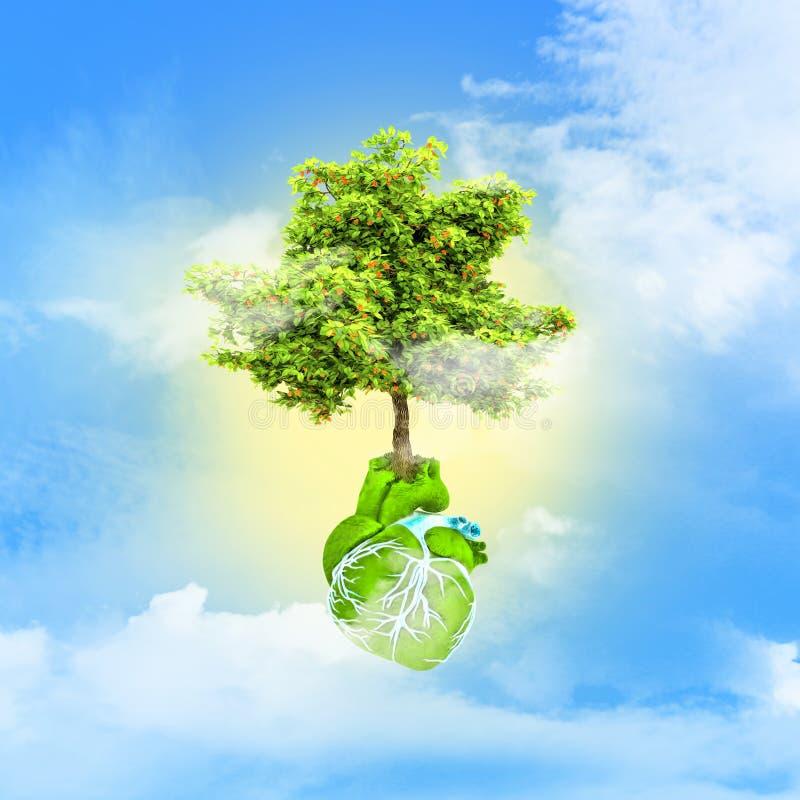 Estratto sotto forma di cuore e di albero Giorno di ambiente di mondo royalty illustrazione gratis