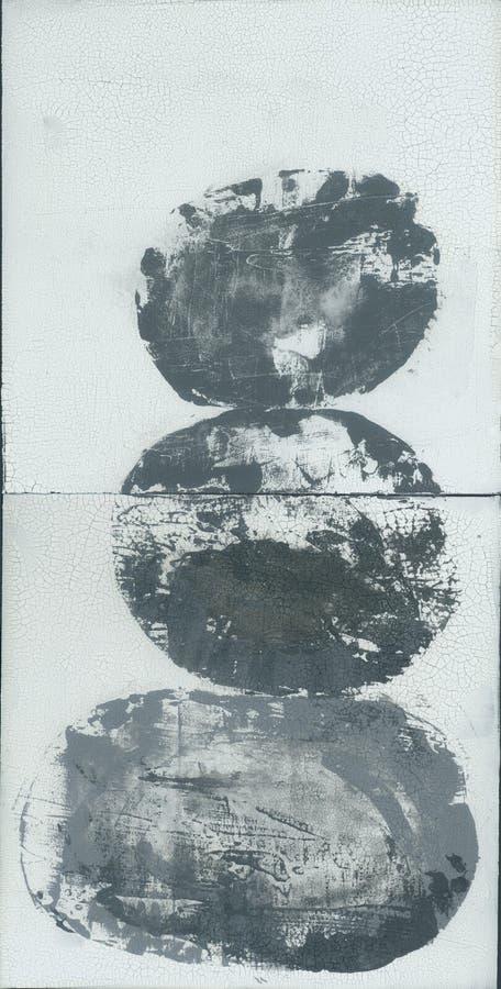 Estratto strutturale impilato incrinato Zen Painting delle pietre fotografia stock