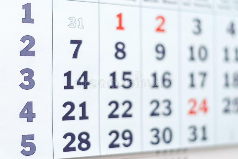 Estratto vago del calendario fotografie stock