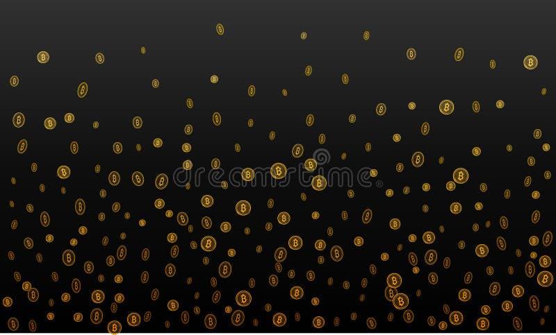 Estrazione mineraria cripto di affari di Bitcoins Oro di vettore royalty illustrazione gratis