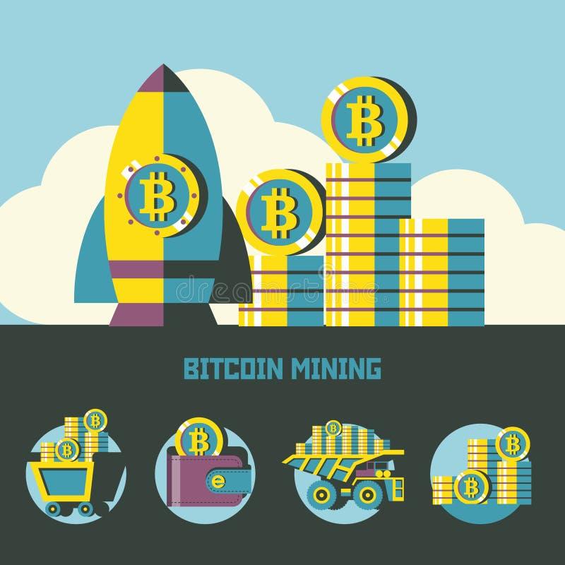 Estrazione mineraria di Bitcoin Una pila di monete del bitcoin Affare e finanza moderni Illustrazione di vettore illustrazione vettoriale