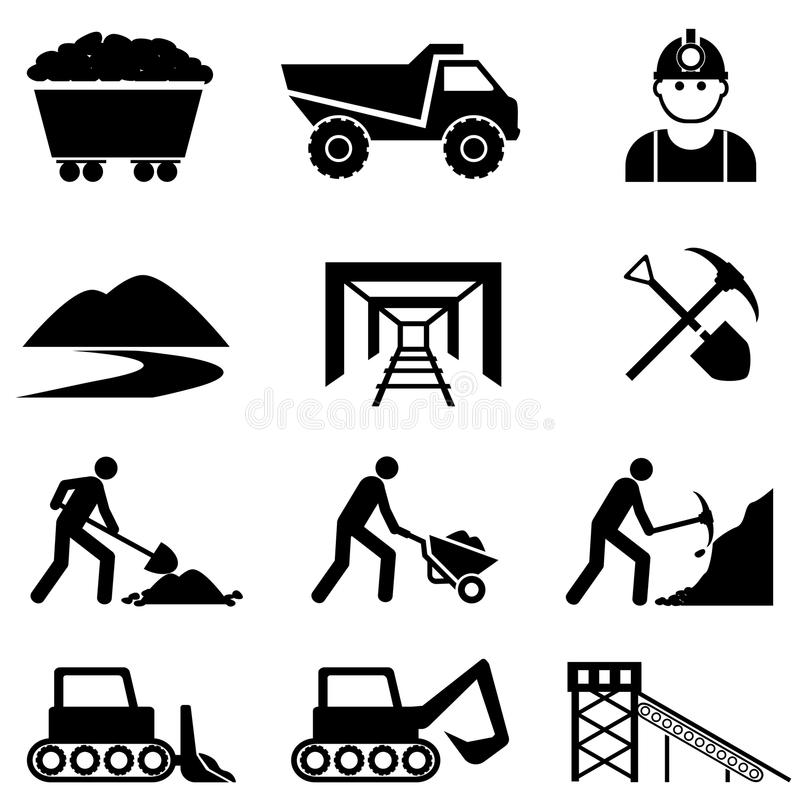 Estrazione mineraria ed insieme dell'icona del minatore illustrazione vettoriale