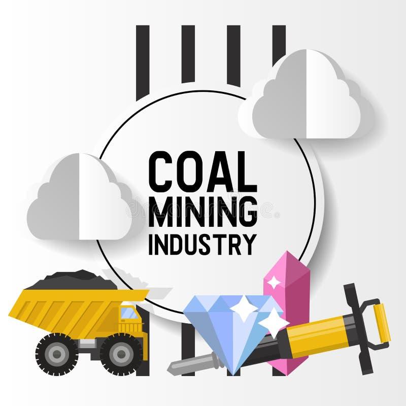 Estrazione mineraria minerale, estrazione mineraria nera, illustrazione di vettore di industria carboniera Il camion porta la roc royalty illustrazione gratis