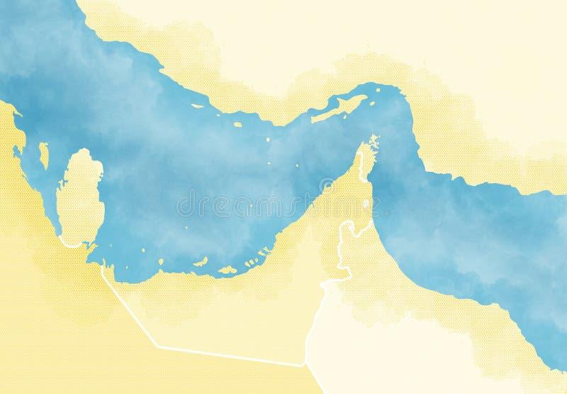 ESTRECHO DE HORMUZ Mapa del Medio Oriente, del Golfo Pérsico y del Océano Índico conectando a través del estrecho de Hormuz stock de ilustración