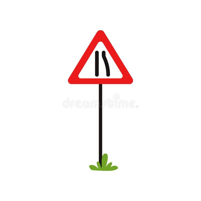 Estreitos de estrada de advertência triangulares do sinal de tráfego à esquerda Projeto liso do vetor para o livro educacional, o ilustração do vetor