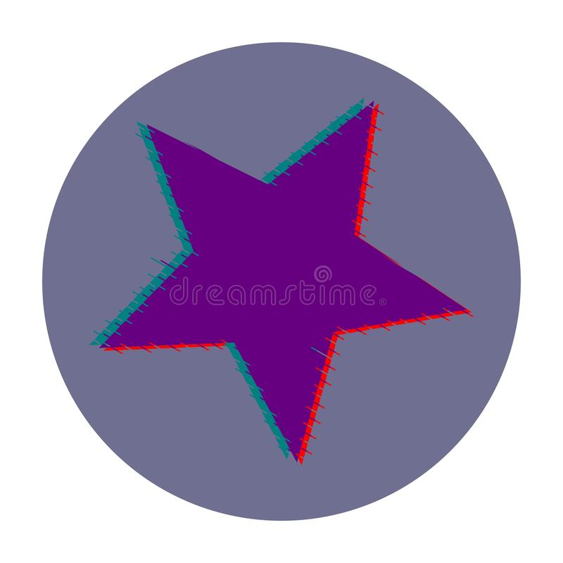 Estrela Ícone do vetor da cor violeta glitch ilustração do vetor