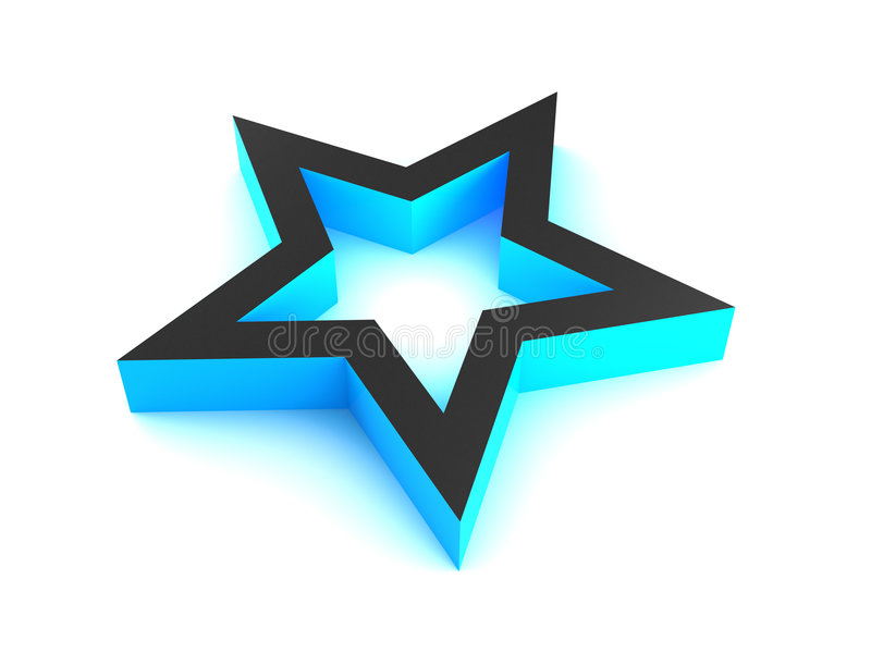 estrela 3D azul. ilustração do vetor