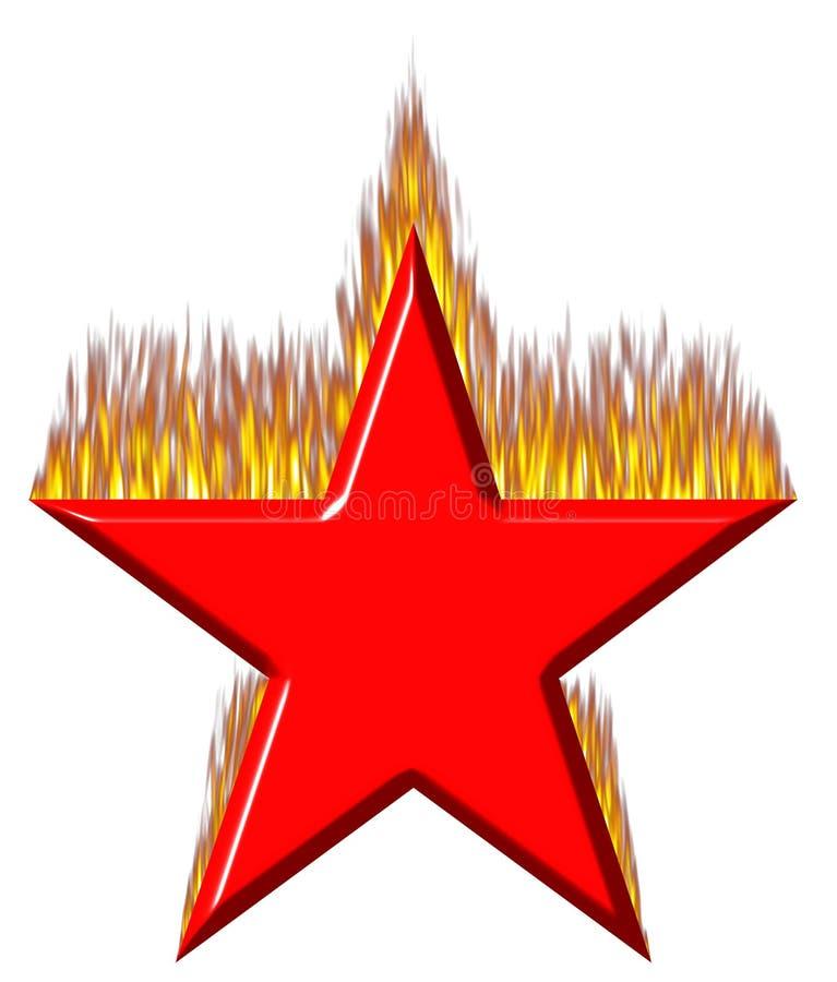 estrela 3D vermelha no incêndio ilustração royalty free