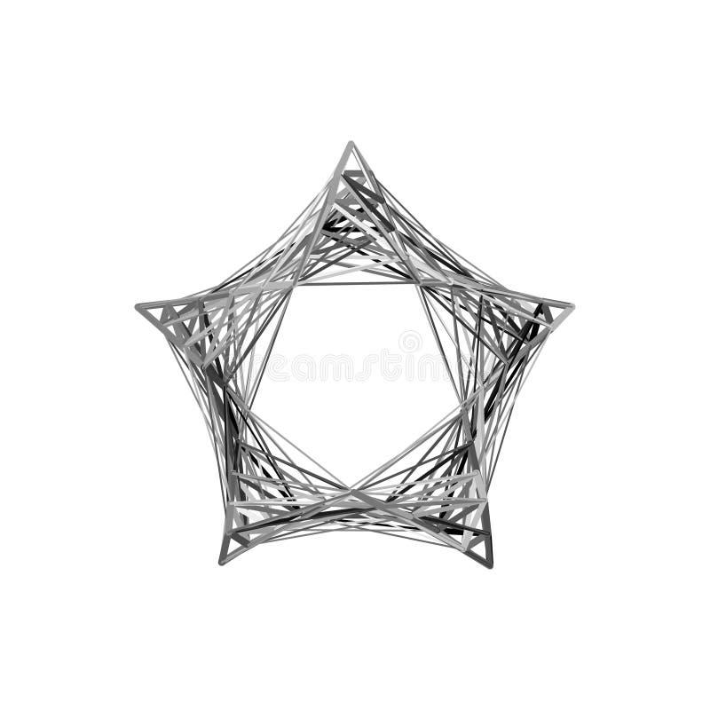 Estrela abstrata das linhas Isolado no fundo branco Vetor ilustração stock