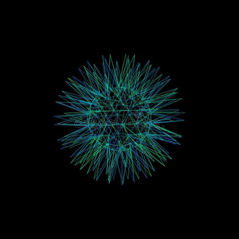 Estrela abstrata esfera da estrutura 3d das linhas Mal do esboço do vetor ilustração do vetor
