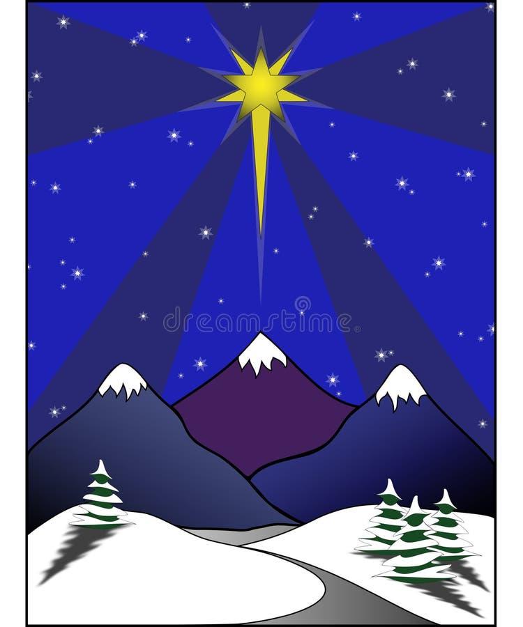 Estrela acima da cena nevado ilustração stock