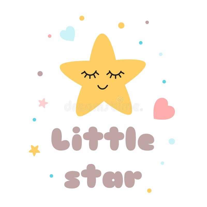 Estrela amarela bonito da estrela pequena do texto do cartaz das crianças com ilustração feliz do vetor do elemento da festa do b ilustração stock