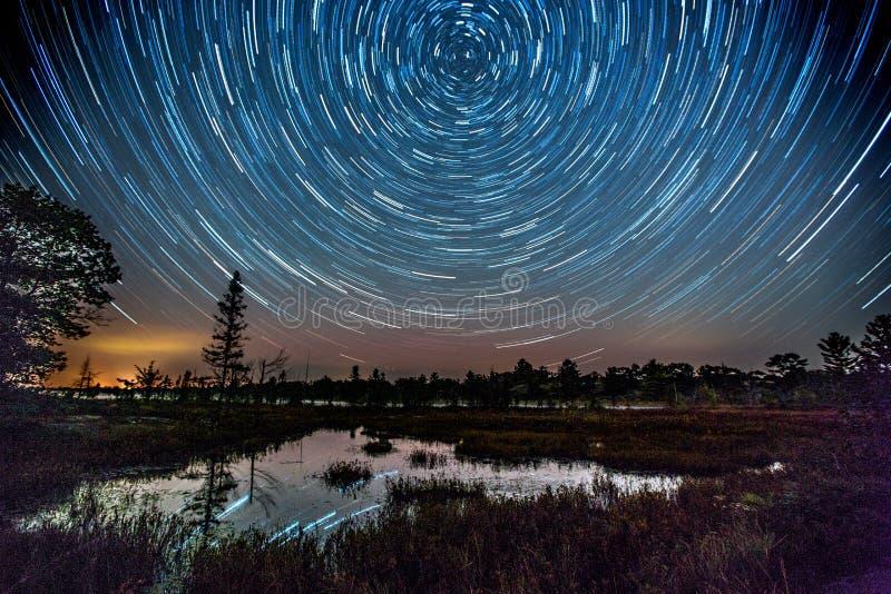 A estrela arrasta (Torrance Barrens Dark-Sky) fotografia de stock royalty free