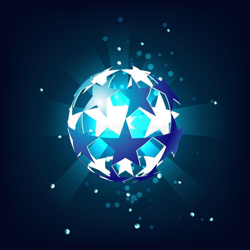 Estrela azul de bola de futebol, brilhando de dentro de, com o fulgor em uma obscuridade - fundo azul ilustração stock