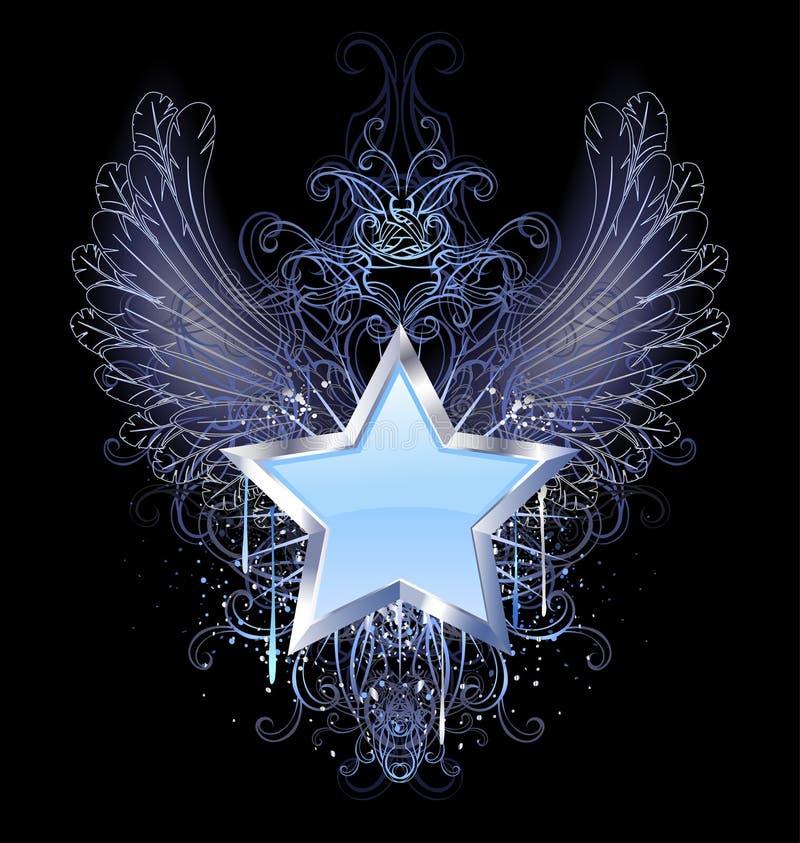 Estrela azul em um fundo escuro ilustração stock