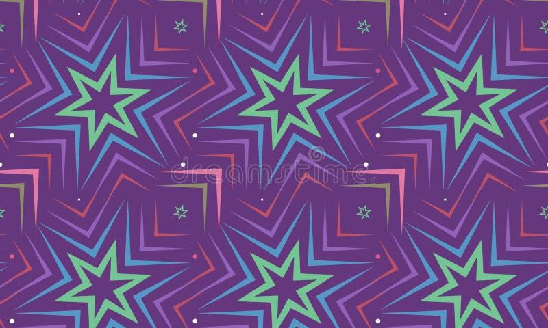 Estrela azul no projeto violeta do fundo Teste padrão sem emenda Vetor imagem de stock