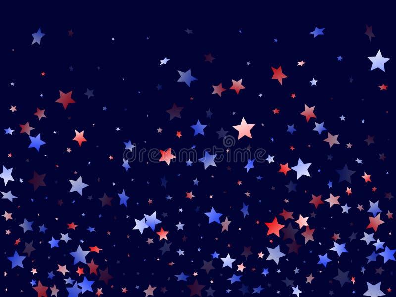 Estrela branca azul voadora acende fundo patriótico americano ilustração do vetor