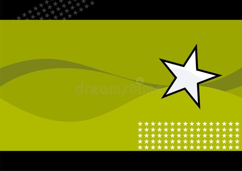 Estrela branca e ondas verdes ilustração royalty free