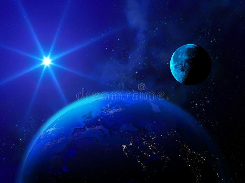 A estrela brilhante ilumina a terra e a lua ilustração do vetor