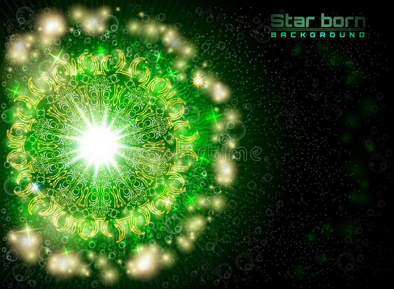 Estrela carregada no espaço com fundo estrelado do verde do céu ilustração stock
