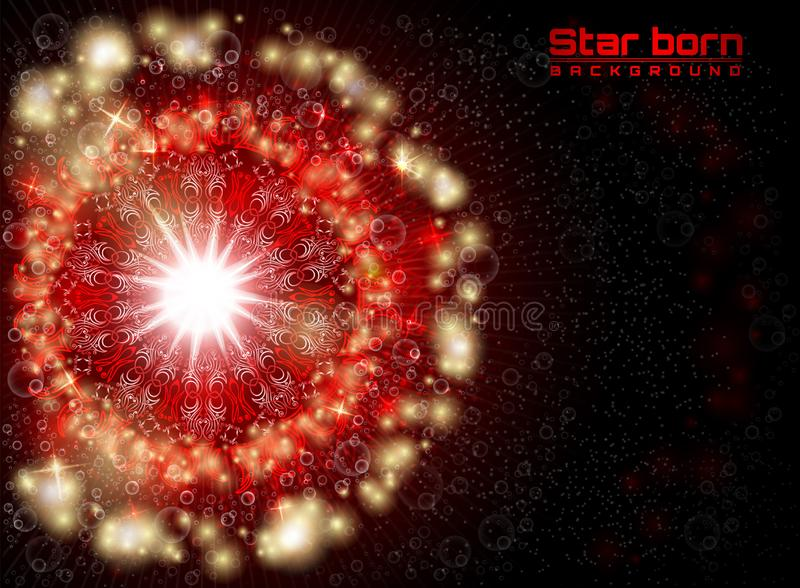 Estrela carregada no espaço com fundo vermelho do céu estrelado ilustração stock