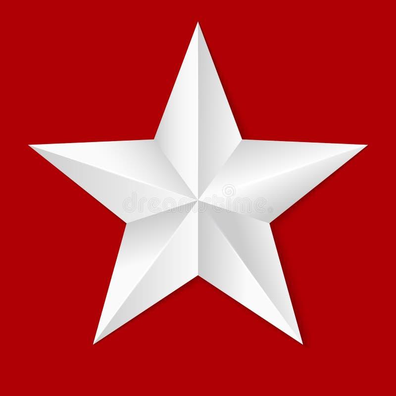 Estrela cinco-aguçado volumétrico Ícone da estrela branca clássica isolada no fundo vermelho, close-up da ilustração 3D ilustração stock
