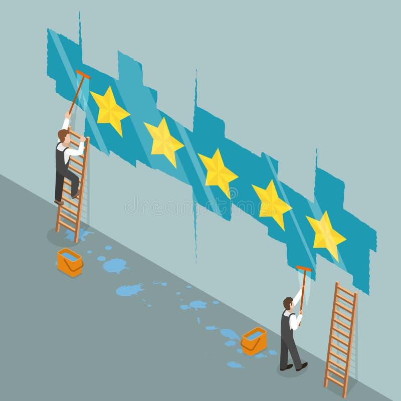 Estrela cinco que avalia o conceito isométrico liso do vetor ilustração do vetor