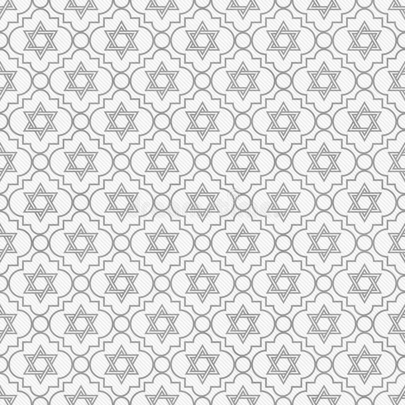 Estrela cinzenta e branca de David Repeat Pattern Background ilustração stock