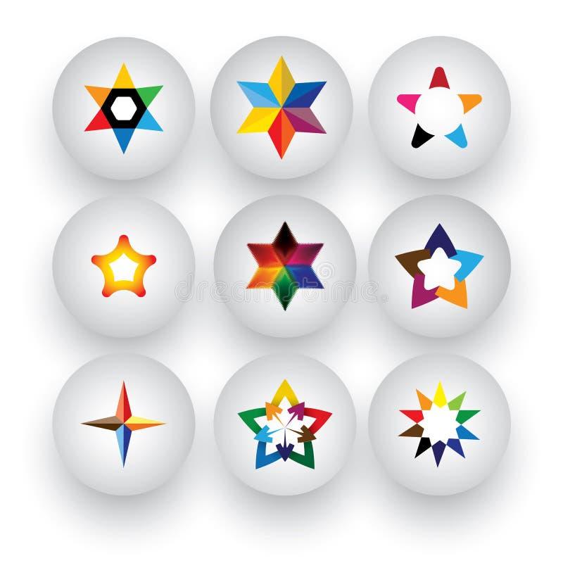 Estrela colorida, Natal & navidad, avaliação, ícone do vetor do crachá 3d ilustração stock