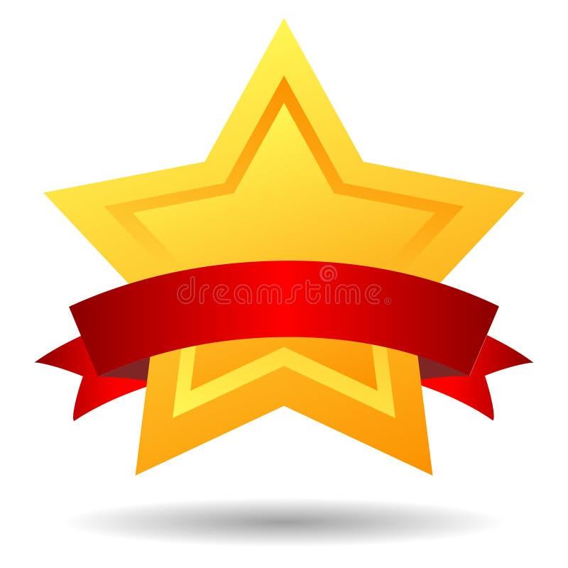 Estrela com fita vermelha ilustração stock