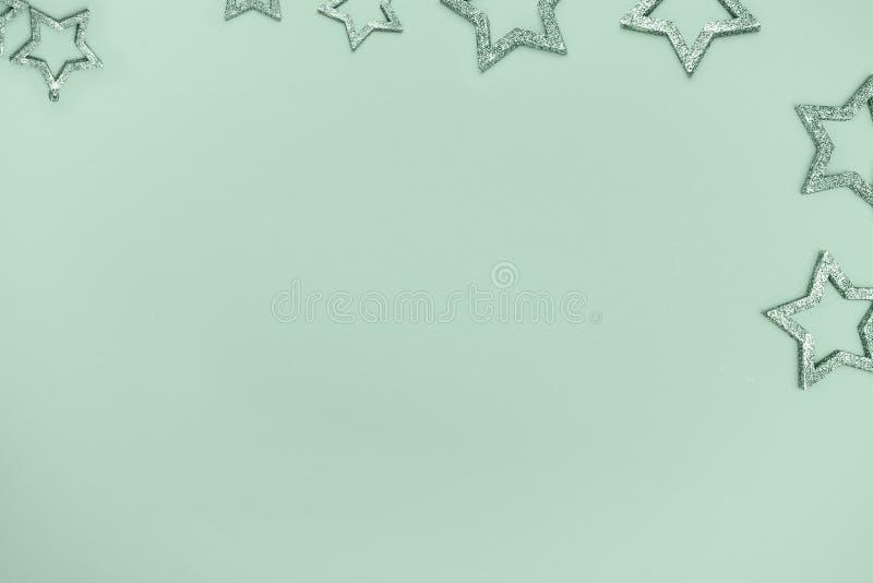 Estrela com sparkles Vista superior Conceito festivo Copie o espaço foto de stock