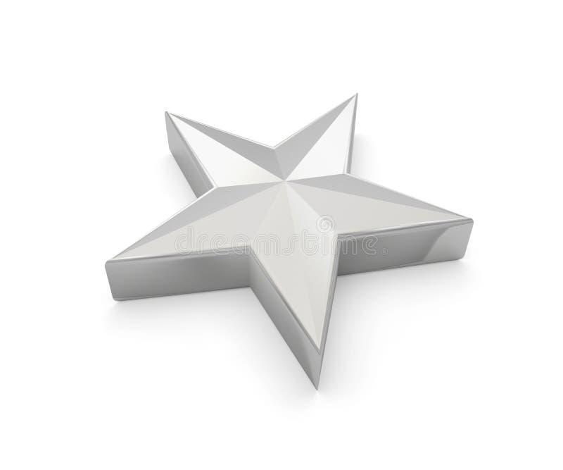 Estrela 3D cinzento cinzento de prata ilustração stock