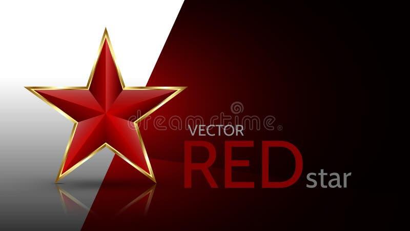 Estrela 3D vermelha brilhante ilustração do vetor
