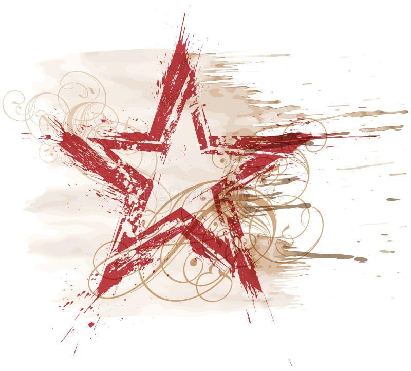 Estrela da aguarela de Grunge ilustração stock