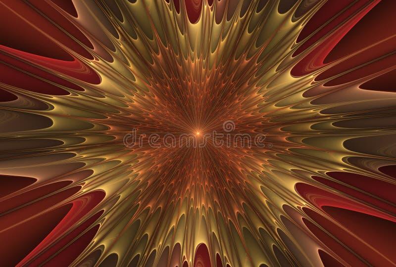 Estrela da explosão do Fractal com brilho e linhas ilustração do vetor