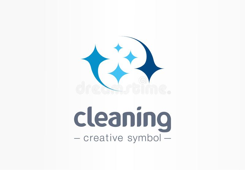 Estrela da faísca, conceito criativo do símbolo do sorriso fresco Lavagem, brilho, lavanderia, logotipo do negócio do sumário da  ilustração royalty free