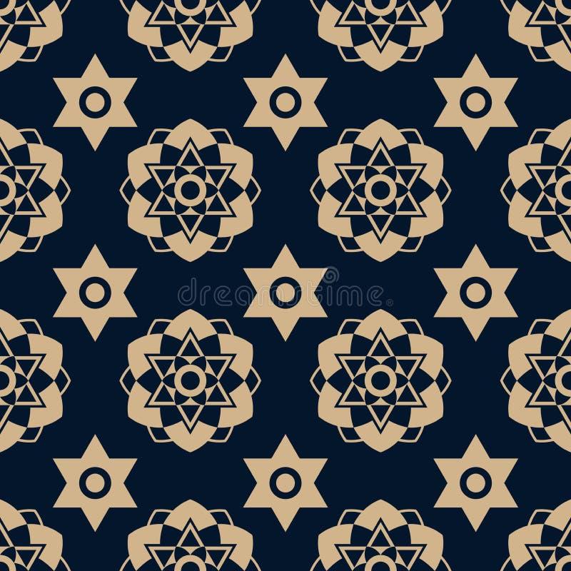 Estrela da textura do ouro com escuro - fundo azul ilustração do vetor