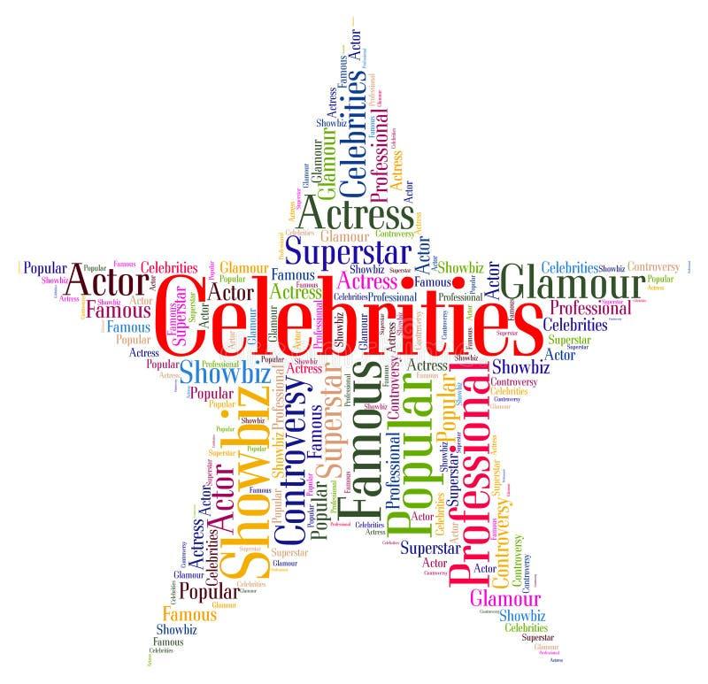 A estrela das celebridades significa ilustre notório e a celebridade ilustração stock
