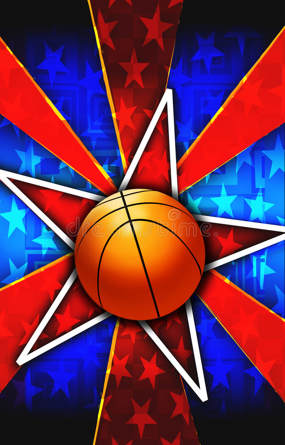 A estrela de basquetebol estourou o vermelho ilustração do vetor