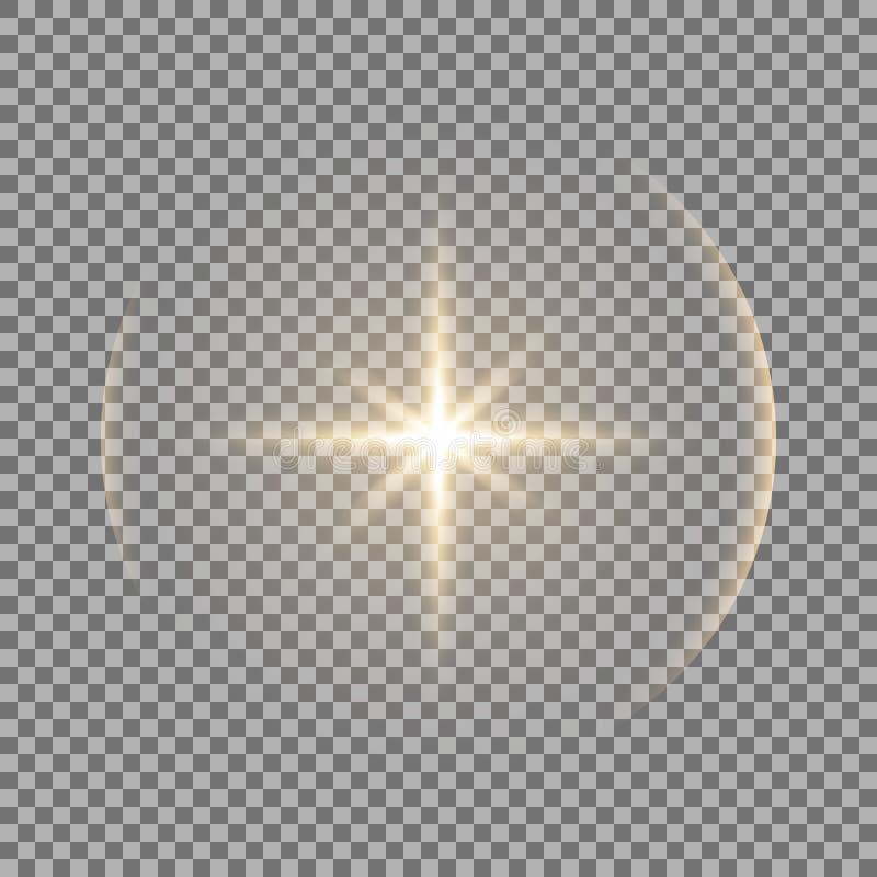 Estrela de brilho com um brilho, cor dourada ilustração stock