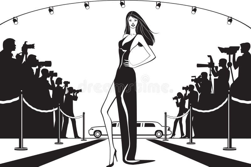 Estrela de cinema que levanta aos fotógrafo no evento da celebridade ilustração stock