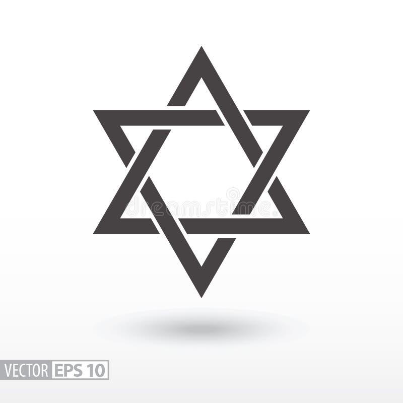 Estrela de David Ícone liso da estrela Estrela do sinal ilustração stock