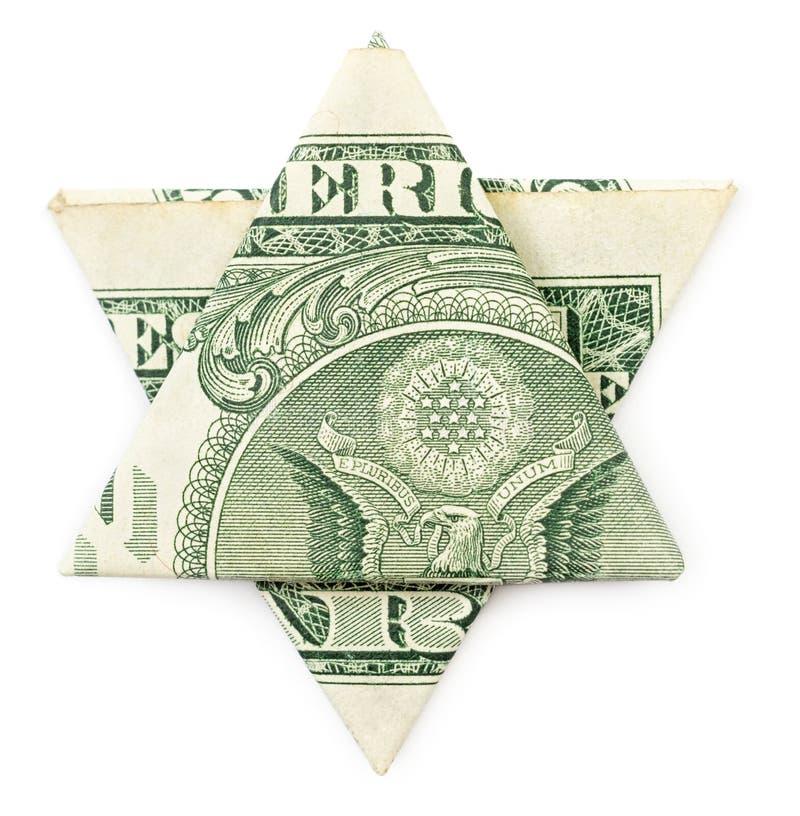 Estrela de David do origâmi do dólar fotos de stock