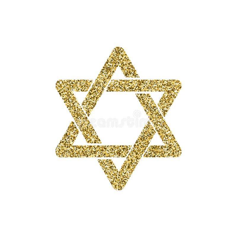Estrela de David dourada do brilho do símbolo da religião do vetor Sinal do aniversário de Israel 70 Estrela dourada do Jerusalém ilustração stock