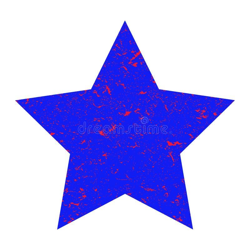 Estrela de Grunge Estrela azul com textura em um fundo branco isolado Ilustra??o ilustração stock