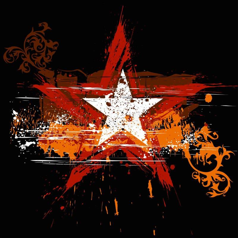 Estrela de Grunge, ornamento das flores ilustração do vetor