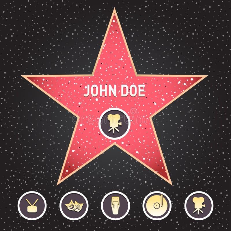 Estrela de Hollywood A caminhada da estrela da fama com emblemas simboliza cinco categorias Hollywood, passeio famoso, ator do bu ilustração stock