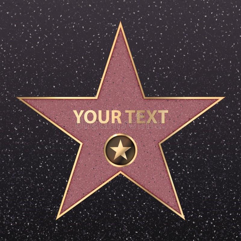 Estrela de Hollywood na fama da celebridade do bulevar da caminhada Vector o sinal da câmera da estrela de Hollywood do ouro do a ilustração stock
