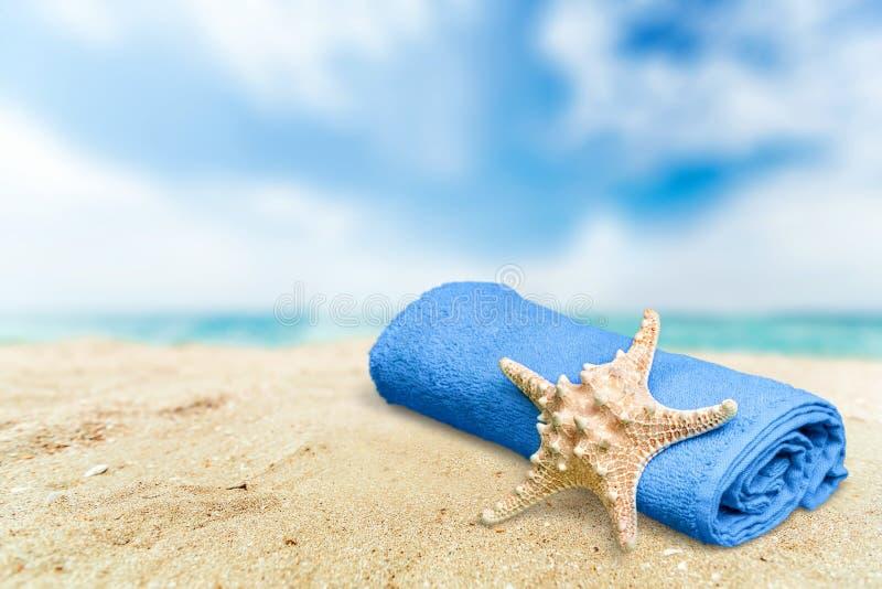 Estrela de mar do close-up com a toalha no Sandy Beach em imagem de stock